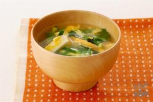 厚揚げ入りにらたまスープ