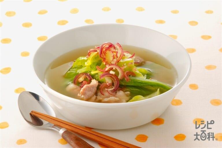 キャベツと豚肉の炒めスープ