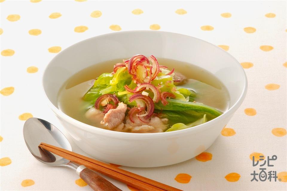 キャベツと豚肉の炒めスープ(キャベツ+豚もも薄切り肉を使ったレシピ)