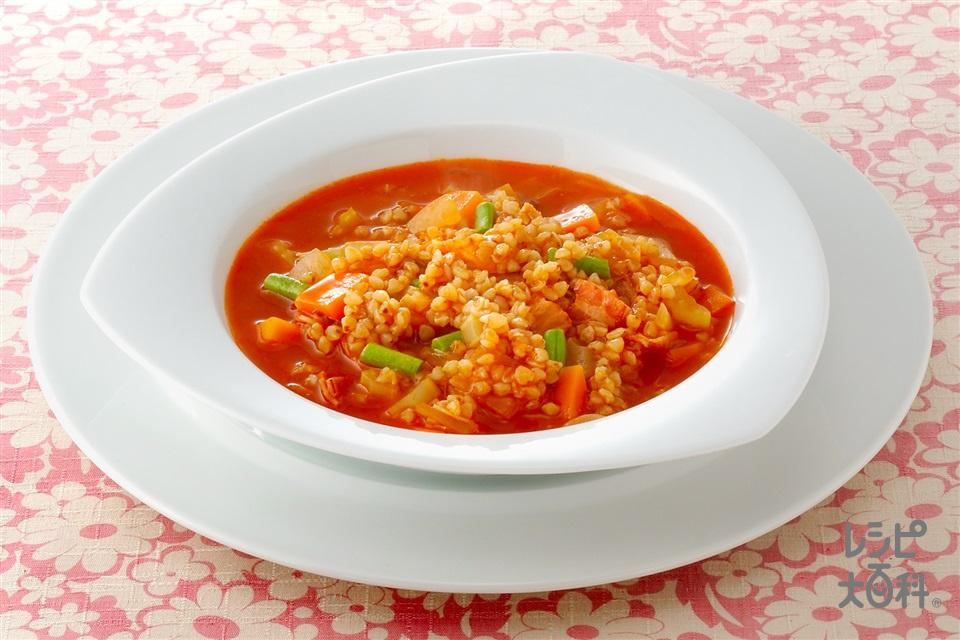 そば米のミネストローネ(にんじん+トマトジュースを使ったレシピ)