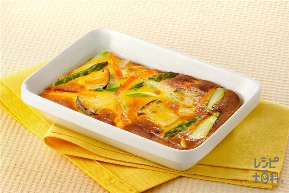 卵&野菜の豆乳オーブン焼き(卵+調整豆乳を使ったレシピ)