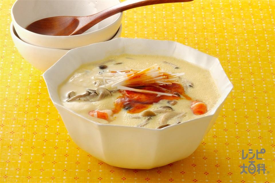 豆乳海鮮茶碗蒸し(はまぐり+酒を使ったレシピ)