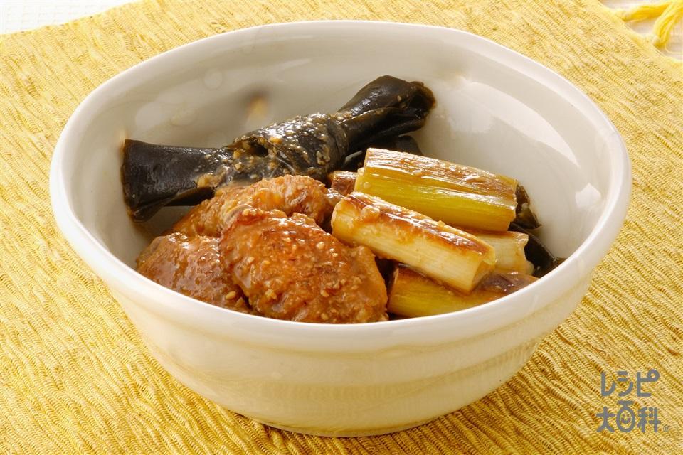 手羽先と昆布の黒酢煮(鶏手羽先+ねぎを使ったレシピ)