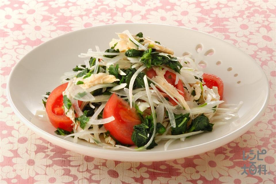 モロヘイヤとささ身のピリ辛サラダ