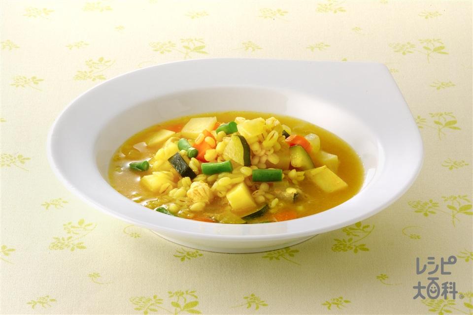 押し麦入り野菜スープ(じゃがいも+ズッキーニを使ったレシピ)