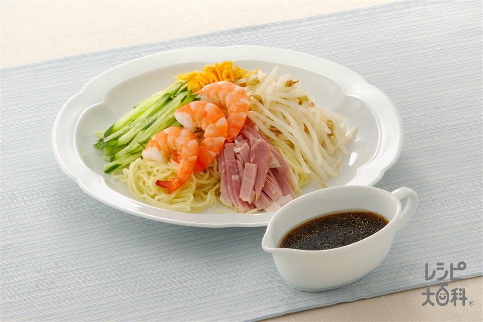 冷やし中華と黒酢ダレ(ゆでえび+中華生めんを使ったレシピ)
