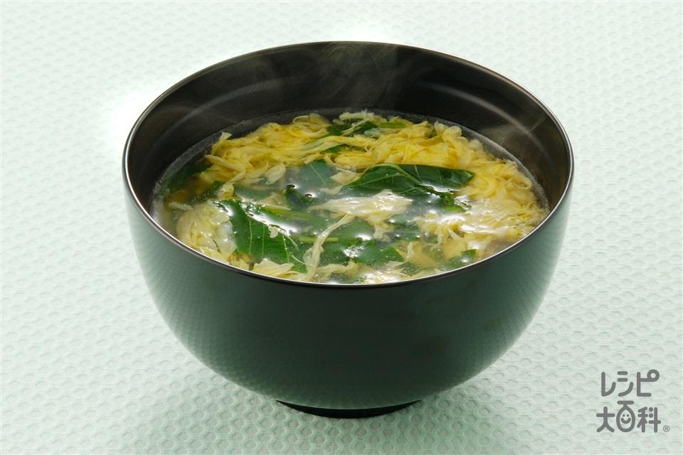 モロヘイヤのかき玉汁(モロヘイヤ+A「毎日カルシウム・ほんだし」を使ったレシピ)