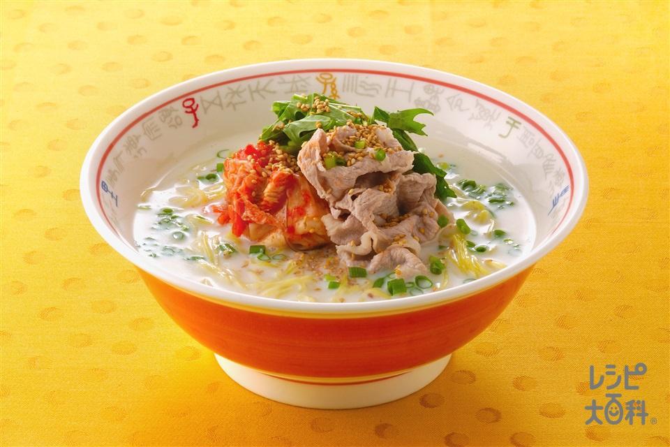 豆乳キムチラーメン(豚もも肉+A水を使ったレシピ)