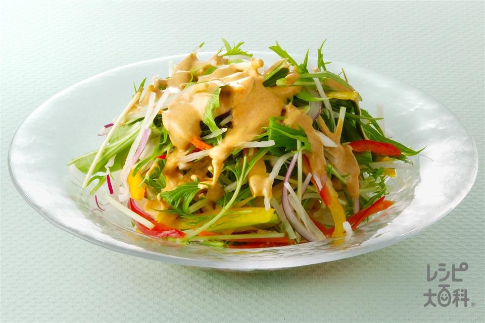 きな粉みそマヨネーズかけサラダ(大根+水菜を使ったレシピ)