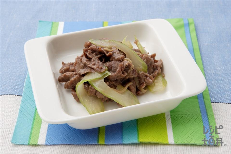 牛肉とセロリの炒めもの(牛もも薄切り肉+セロリを使ったレシピ)