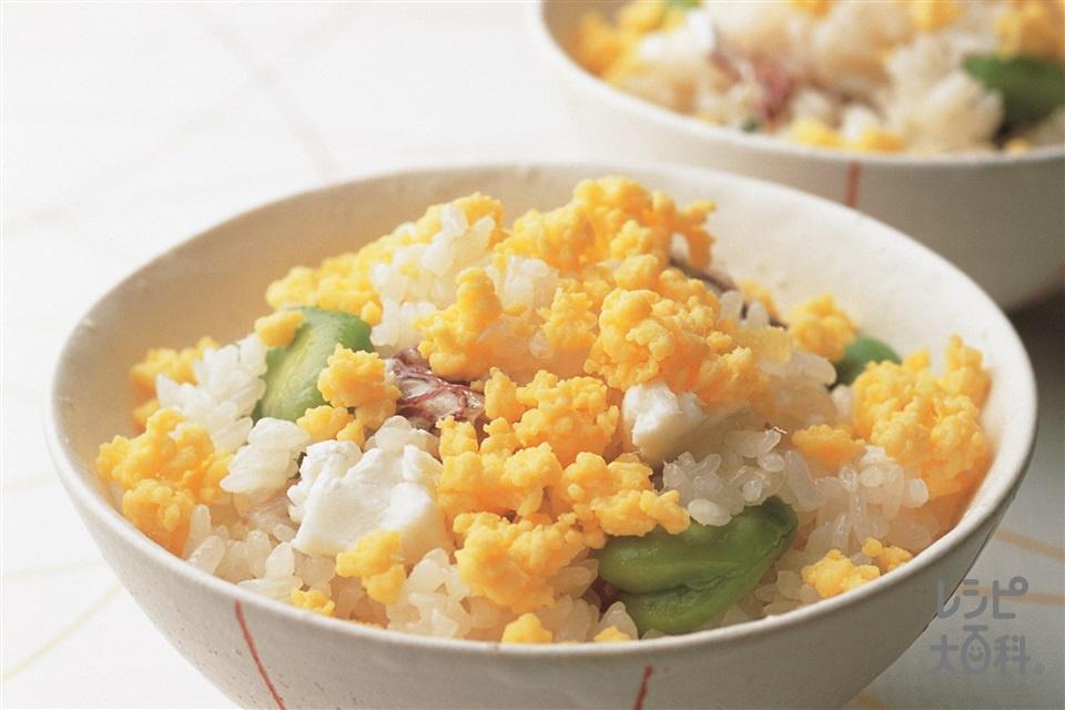 白身魚とそら豆の炊き込みご飯(米+白身魚(たい など)を使ったレシピ)