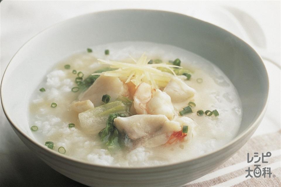 海鮮あんかけがゆ(えび+帆立貝柱を使ったレシピ)