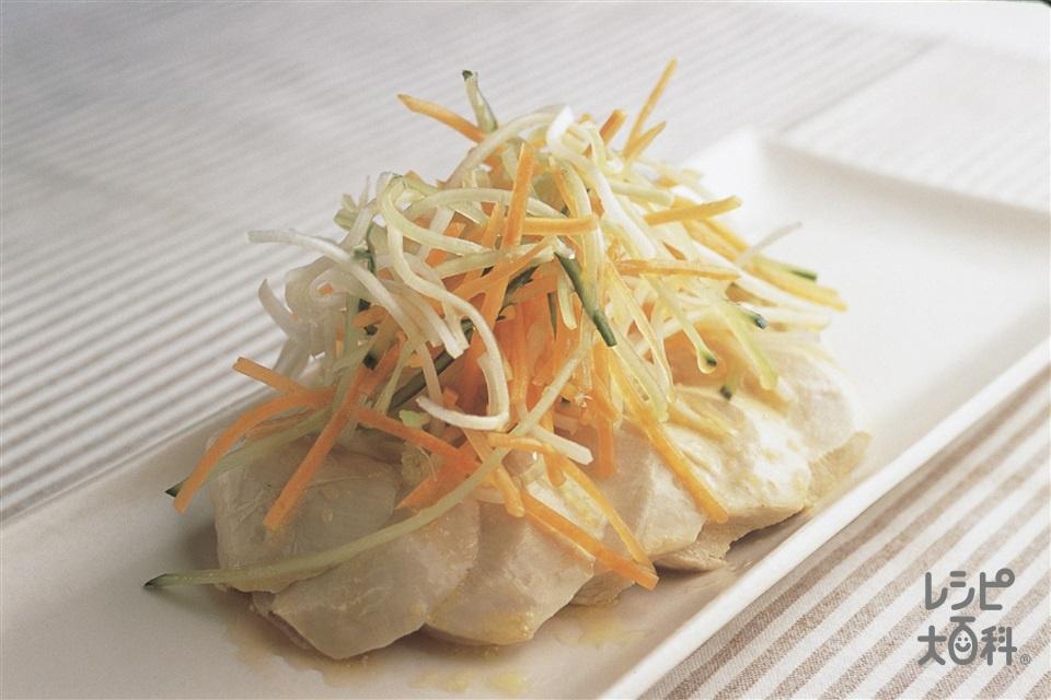 ゆで鶏のレモンマリネ(鶏むね肉(皮なし)+A熱湯を使ったレシピ)