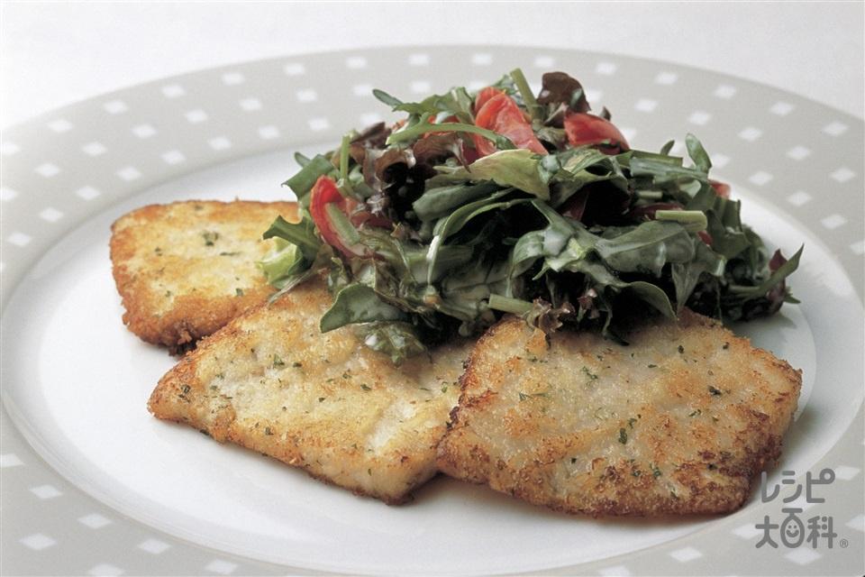 かじきのサラダのせ(かじき+ミニトマトを使ったレシピ)