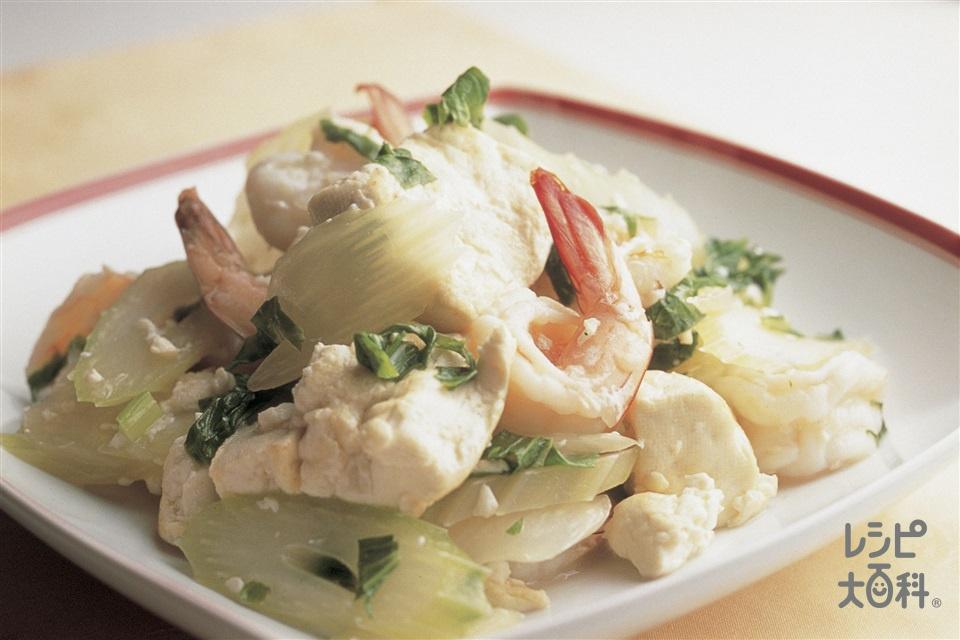 えびと豆腐とセロリの塩炒め(えび+木綿豆腐を使ったレシピ)
