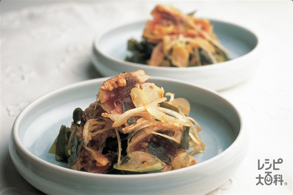 わかめと湯引きまぐろの韓国風あえもの(まぐろの赤身+乾燥カットわかめを使ったレシピ)