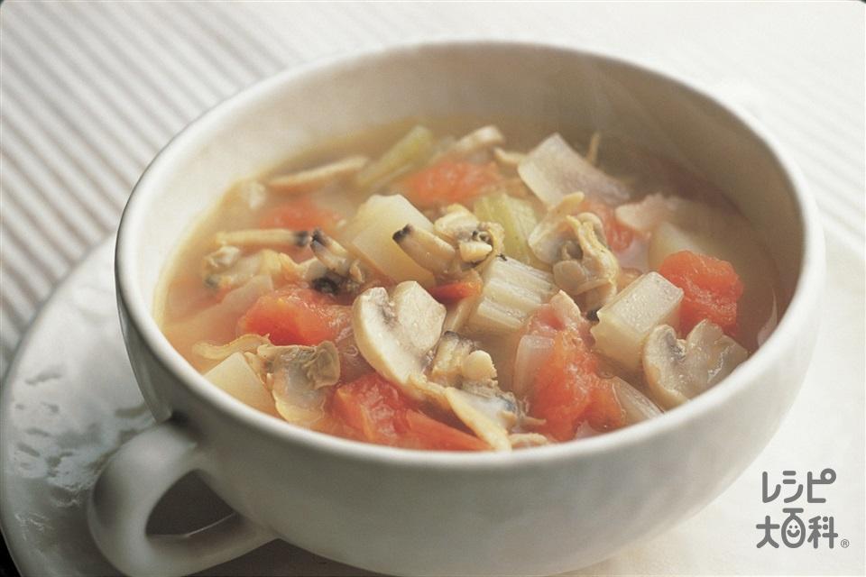 トマト風味のクラムチャウダー(あさり(むき身)+「味の素」を使ったレシピ)