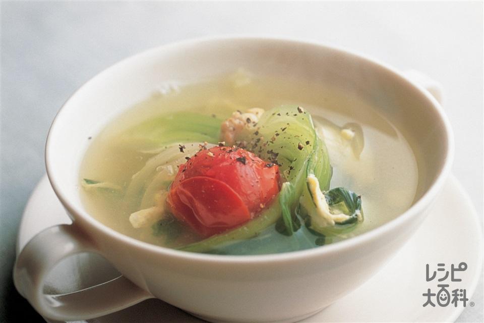 トマトと卵のスープ(ミニトマト+玉ねぎを使ったレシピ)
