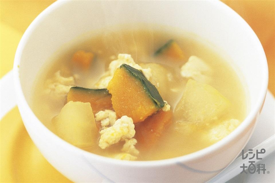 かぼちゃととうがん・豆腐のコンソメおかずスープ(かぼちゃ+木綿豆腐を使ったレシピ)