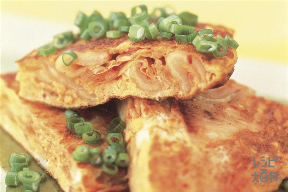 キムタマ(キムチ入り玉子焼き)(白菜キムチ+小ねぎを使ったレシピ)