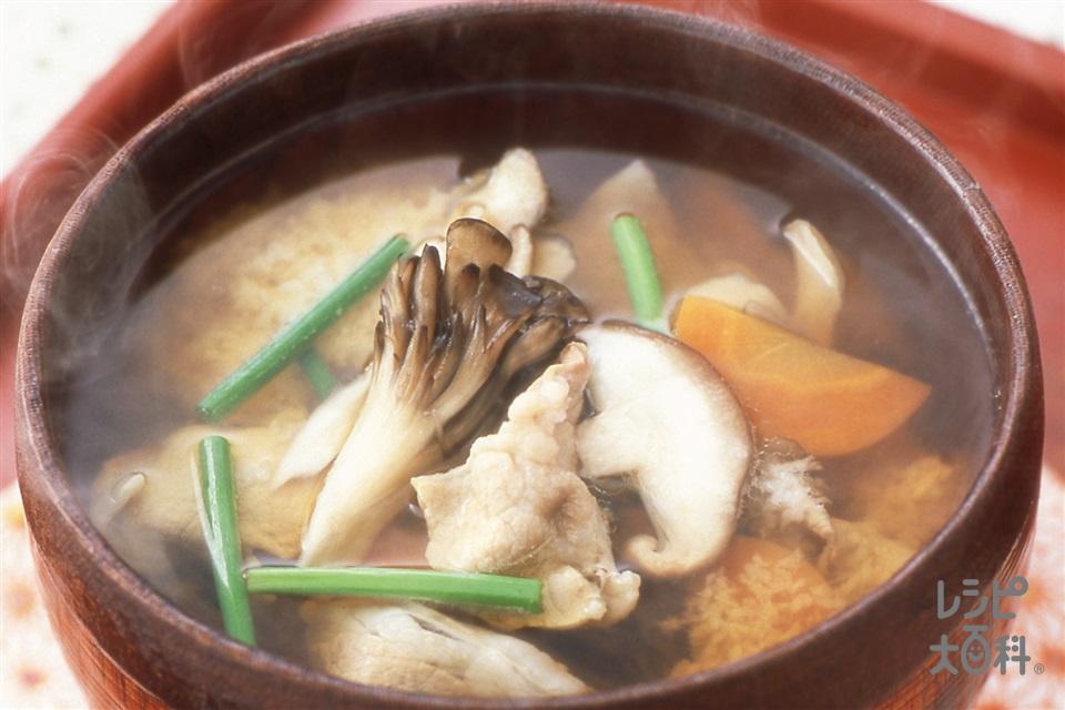きのこの山かけ椀(豚ロース薄切り肉+まいたけを使ったレシピ)