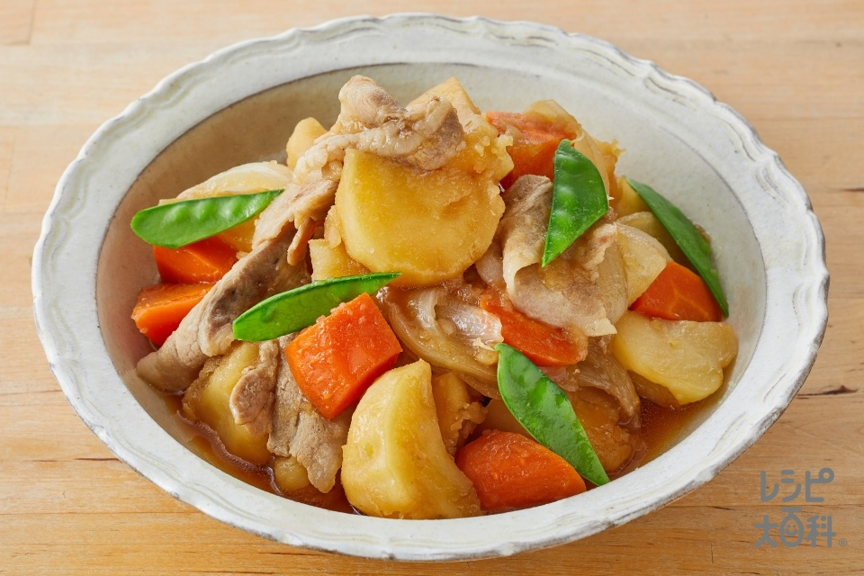 基本の肉じゃが(豚バラ薄切り肉+じゃがいもを使ったレシピ)
