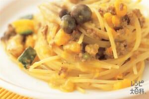 かぼちゃクリームスパゲッティ(スパゲッティ+かぼちゃを使ったレシピ)