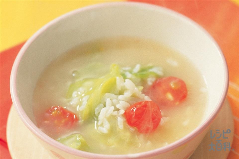 キャベツとミニトマトのスープリゾット(キャベツ+ミニトマトを使ったレシピ)