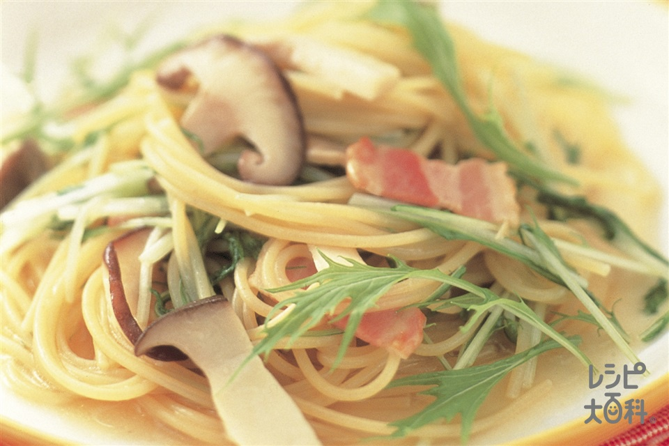 きのことベーコンのスープスパゲッティ(スパゲッティ+A湯を使ったレシピ)