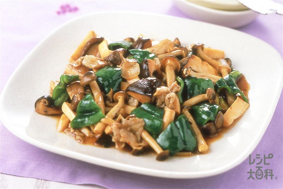 きのこと豚肉の黒酢辛味炒め(豚バラ薄切り肉+A「瀬戸のほんじお」を使ったレシピ)