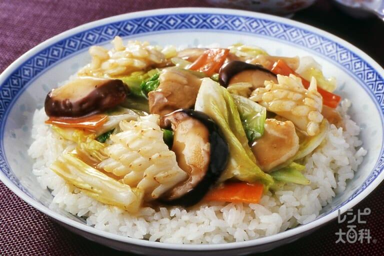 八宝菜のせ中華丼