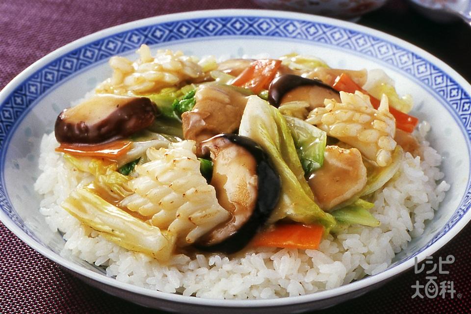 八宝菜のせ中華丼(白菜+ご飯を使ったレシピ)