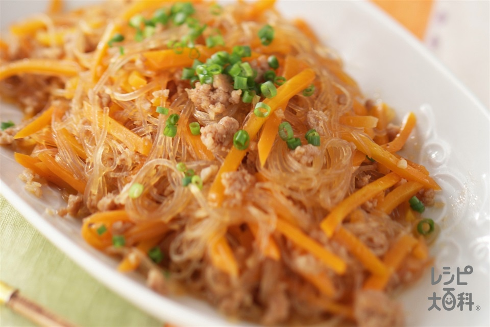 にんじんと春雨の炒めもの(にんじん+豚ひき肉を使ったレシピ)