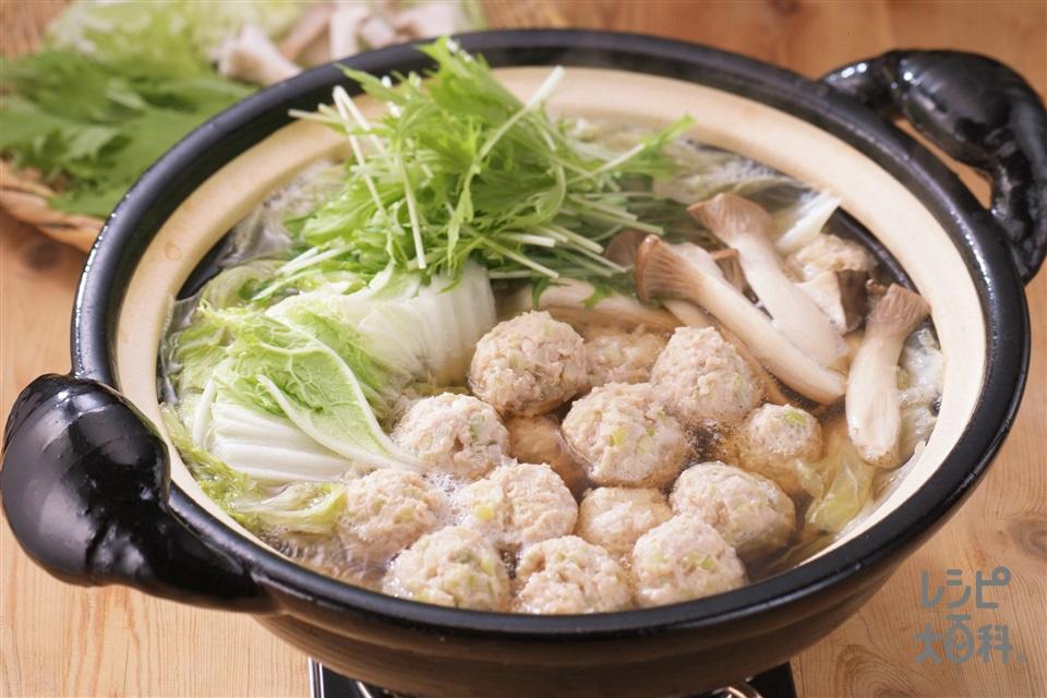 鶏ねぎ団子鍋(鶏ひき肉+Aしょうゆを使ったレシピ)