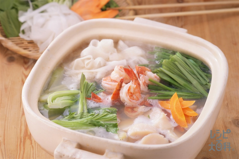 海鮮中華鍋(車えび+帆立貝柱(刺身)を使ったレシピ)