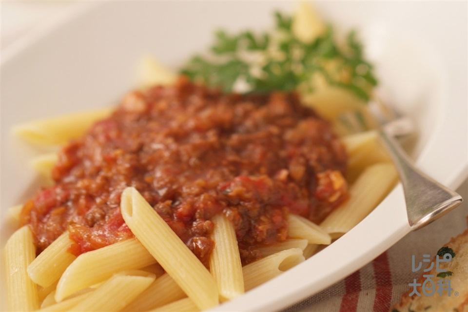 ミートソースのパスタ(ペンネ+ホールトマト缶を使ったレシピ)