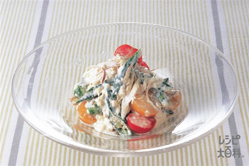 オクラとミニトマトのマヨ豆腐サラダ(オクラ+絹ごし豆腐を使ったレシピ)