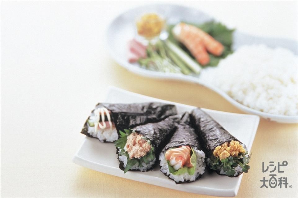 4種のマヨ手巻き(すし飯+鶏ひき肉を使ったレシピ)