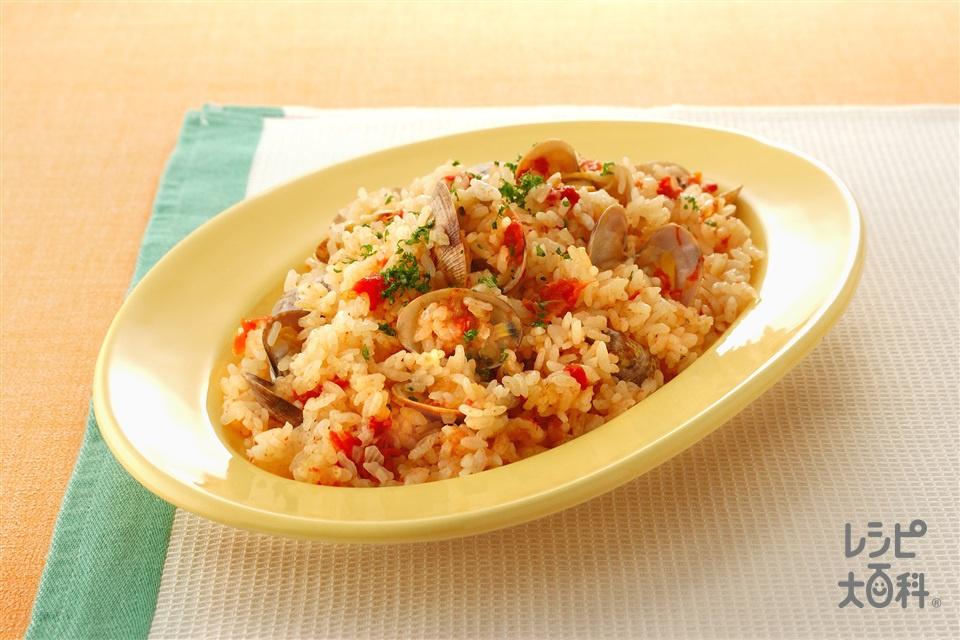 あさりのトマト味炊き込みご飯(米+ホールトマト缶を使ったレシピ)