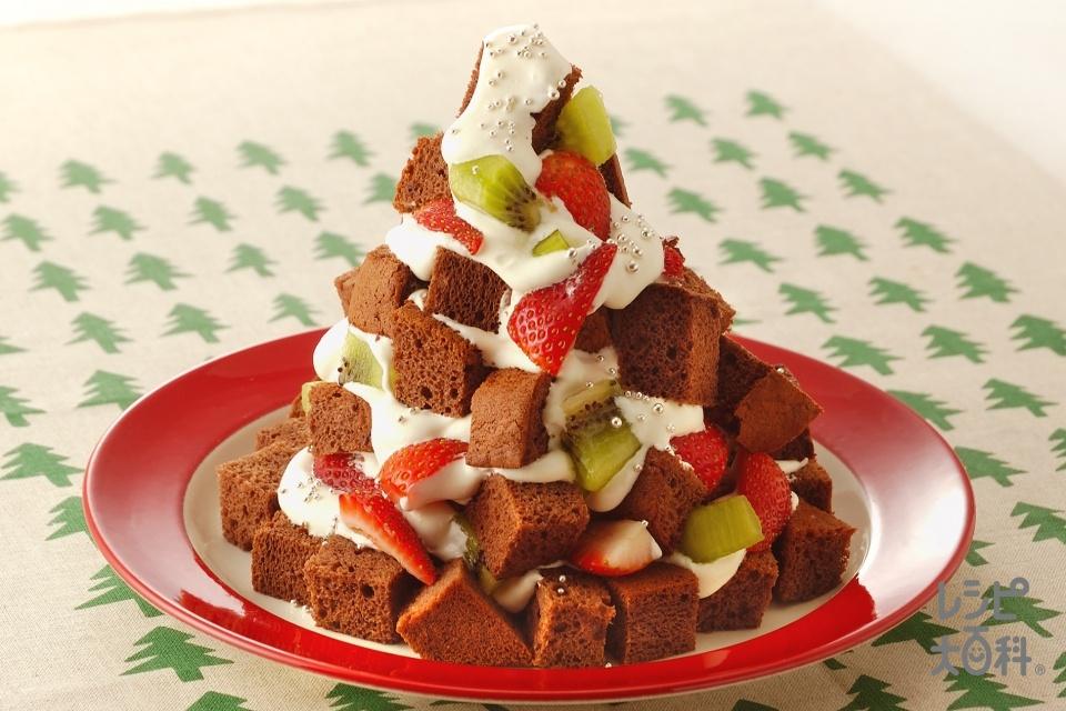 もみの木チョコケーキ(生クリーム+キウイを使ったレシピ)