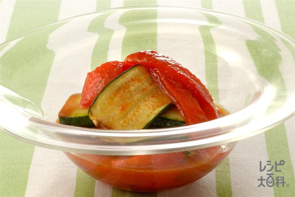 赤ピーマンのコチュジャンマリネ(パプリカ(赤)+ズッキーニを使ったレシピ)