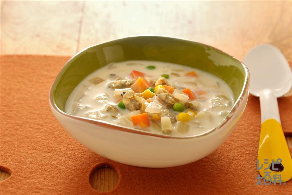 クラムチャウダー風簡単スープ(玉ねぎ+牛乳を使ったレシピ)