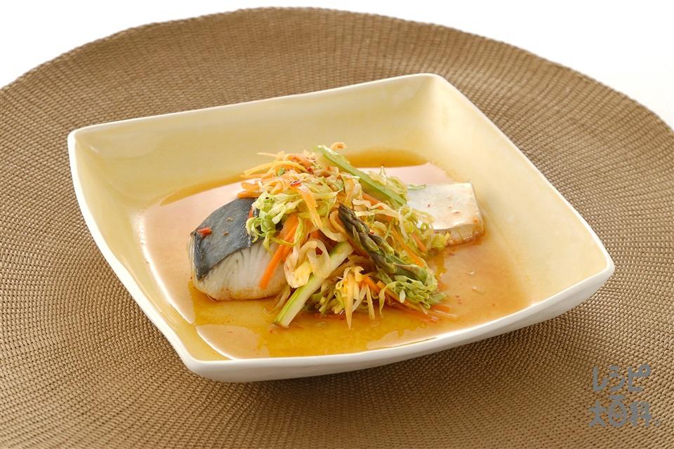 野菜とさわらのピリ辛レンジ蒸し(さわら+キャベツを使ったレシピ)