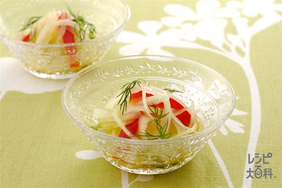 スライスオニオンサラダ(玉ねぎ+パプリカ(赤)を使ったレシピ)