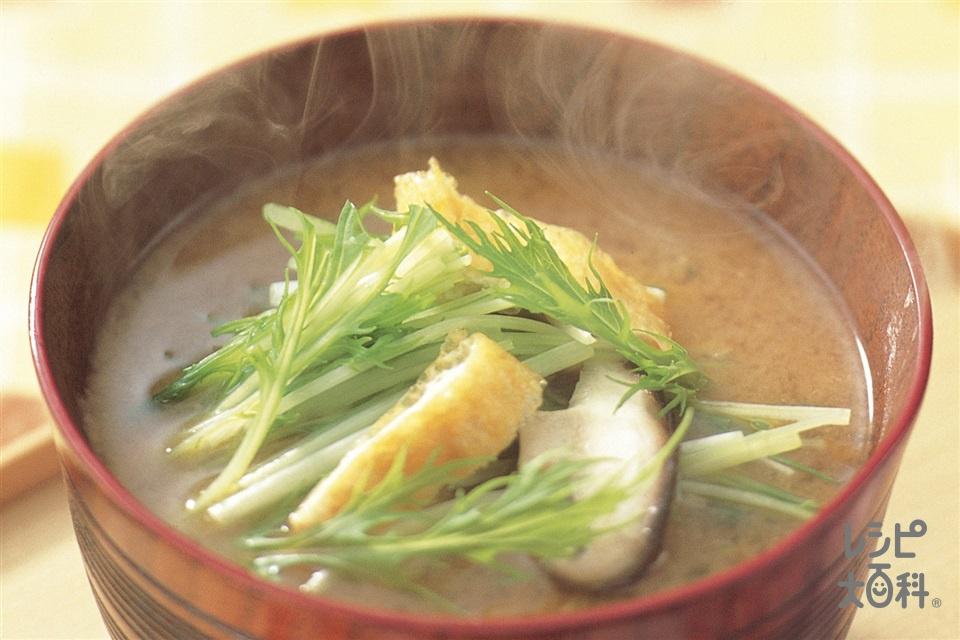 「いりこだし」で作る水菜と油揚げのみそ汁(水菜+油揚げを使ったレシピ)