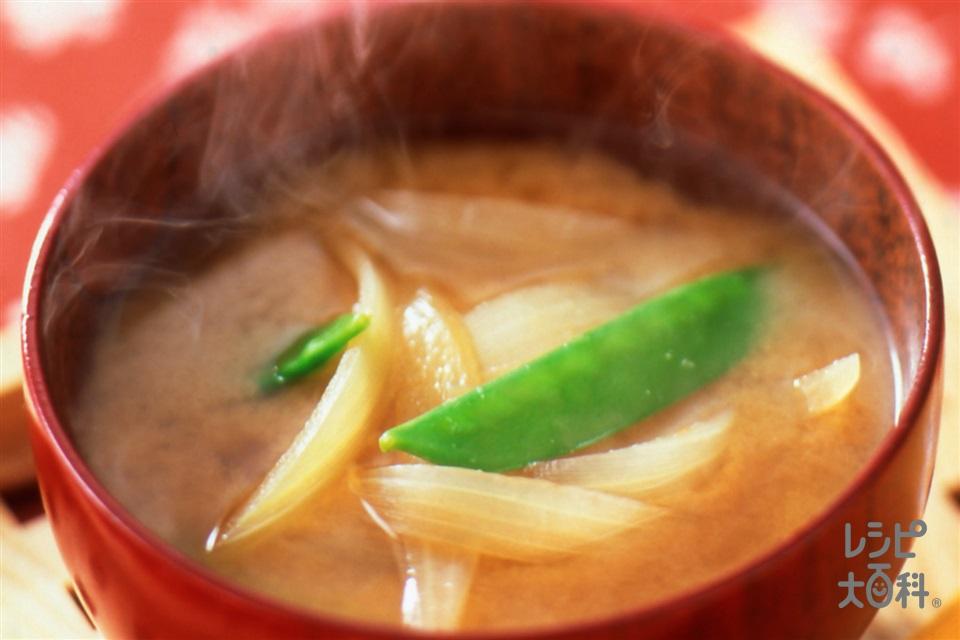 きぬさやと玉ねぎのみそ汁(玉ねぎ+絹さやを使ったレシピ)