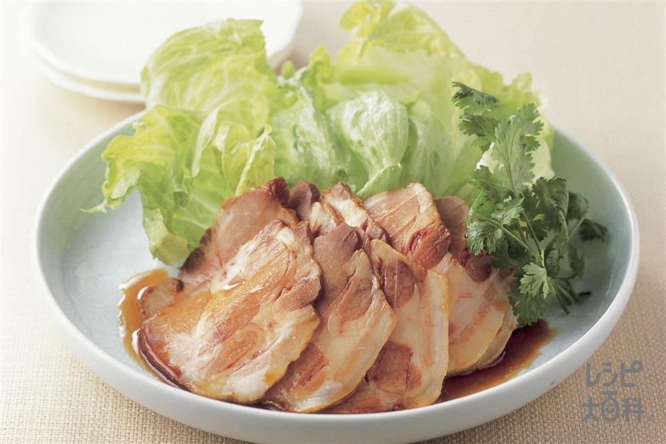 簡単チャーシューのレタス添え(豚肩ロース肉+レタスを使ったレシピ)