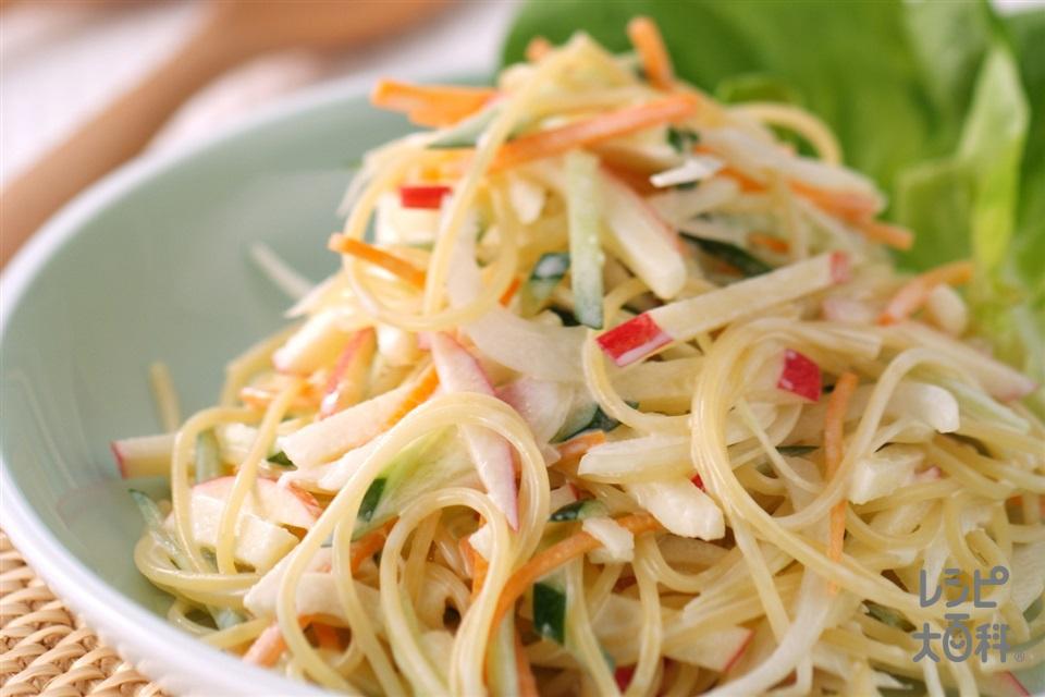 シャキシャキ野菜のパスタサラダ(スパゲッティ+玉ねぎを使ったレシピ)