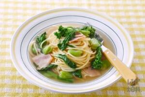 春野菜のスープパスタ