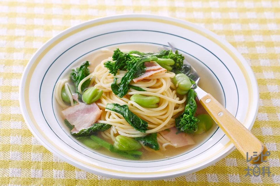 春野菜のスープパスタ(スパゲッティ+菜の花を使ったレシピ)
